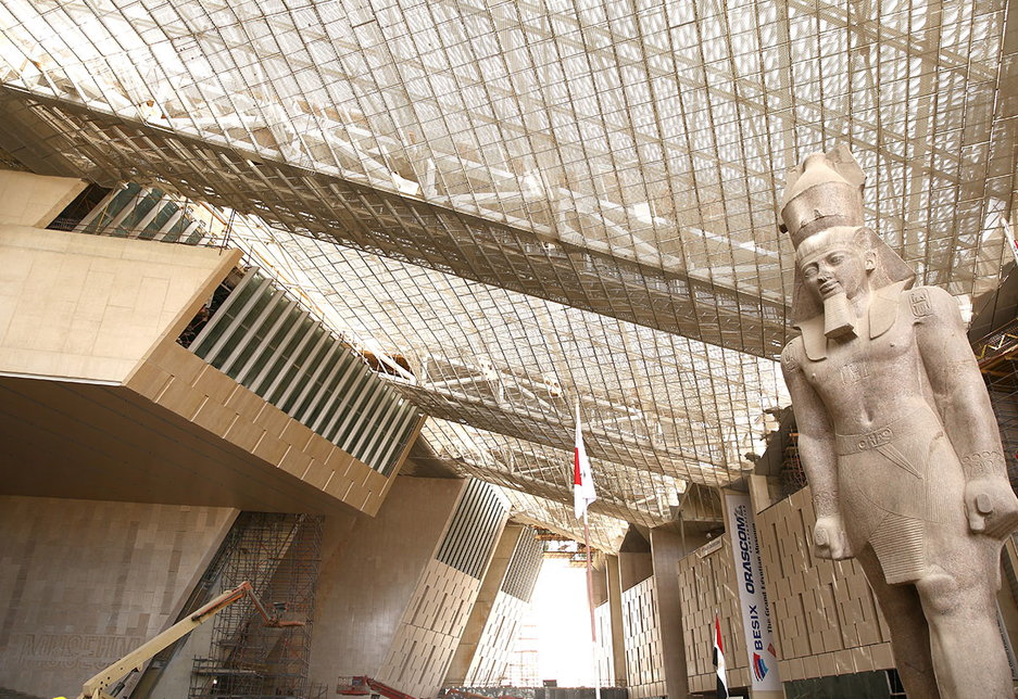 Inside the Grand Egyptian Museum's site.