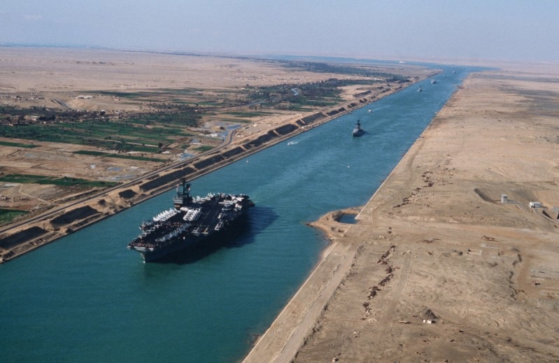 Suez Canal links the Red Sea with the Mediterranean.
