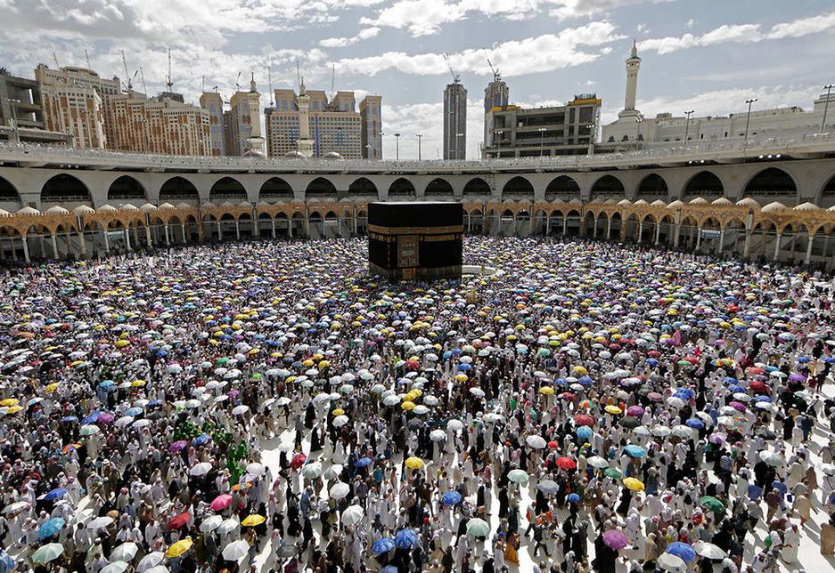 Pilgrims at the Makkah Grand Mosque.
