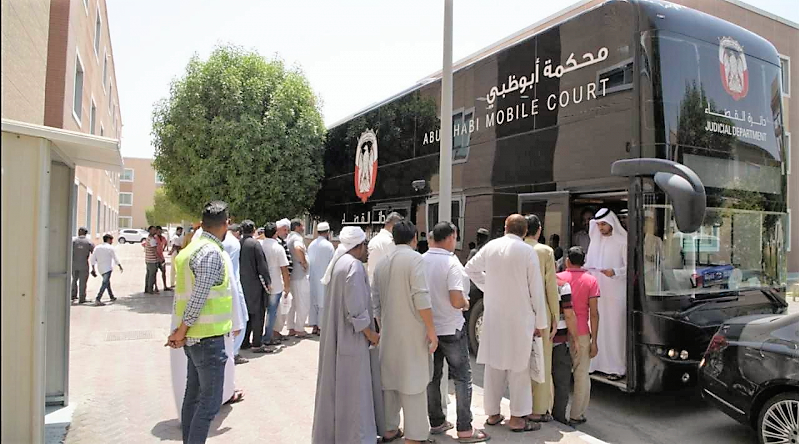 ADJD Mobile Court at the labour camp in Abu Dhabi.