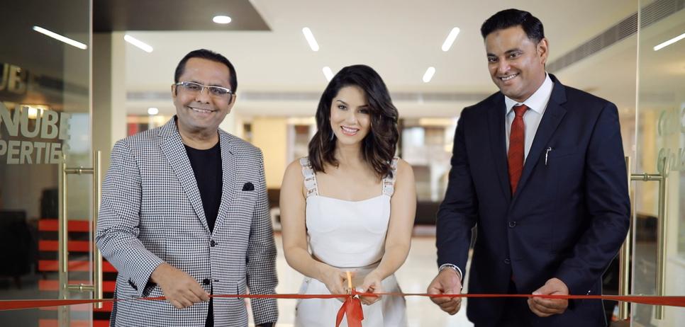 Sunny Leone with Sajan and Rahman.