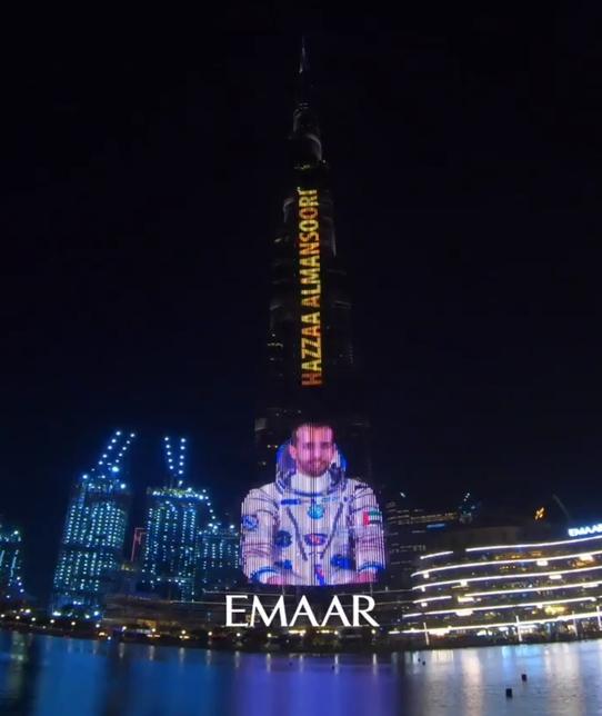 Burj Khalifa lit up for Hazza Al Mansoori.