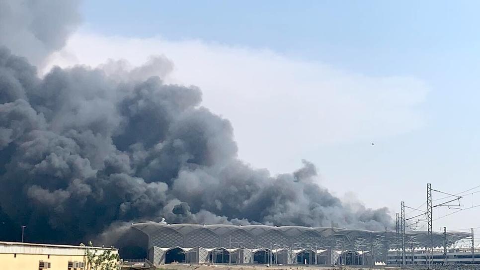 The fire at Haramain High-Speed Rail's Jeddah station.