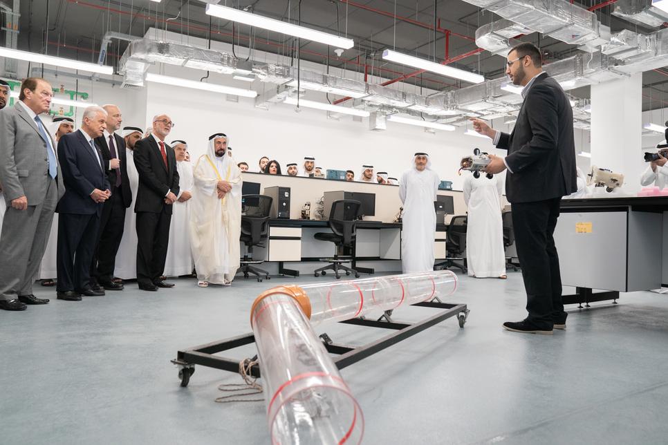 Sharjah Ruler inaugurates AUS College of Engineering building.
