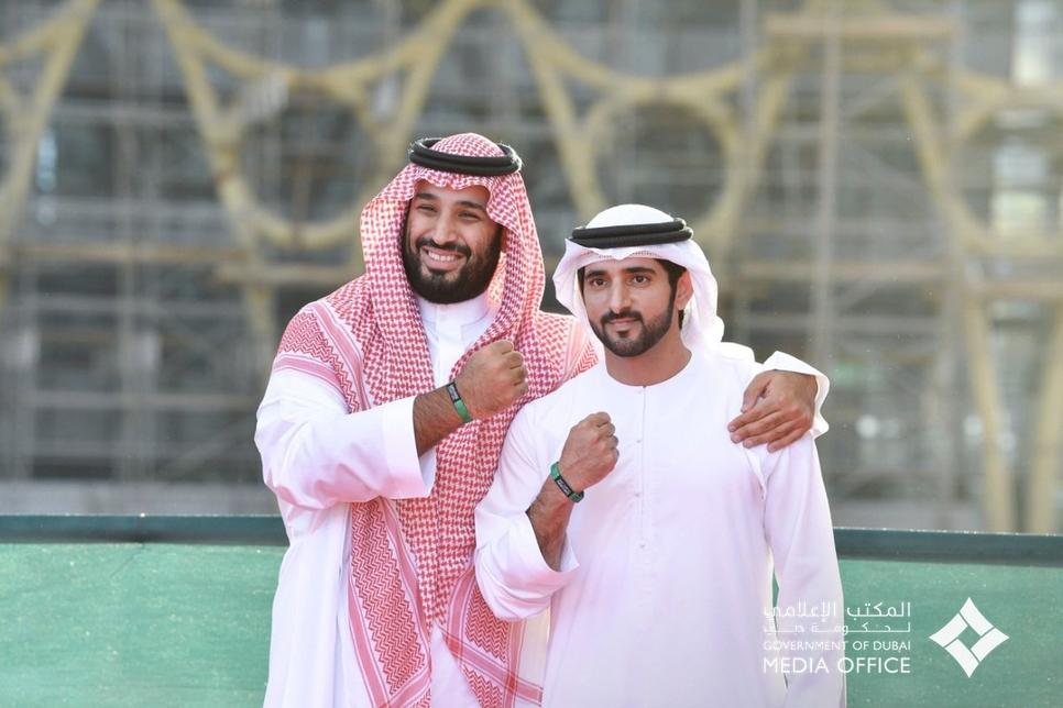 HRH Mohammed Bin Salman Al Saud and HH Sheikh Hamdan bin Mohammed bin Rashid Al Maktoum at Expo 2020 Dubai site.