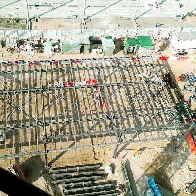 Structral work progress at Expo 2020 Dubai France Pavilion site.