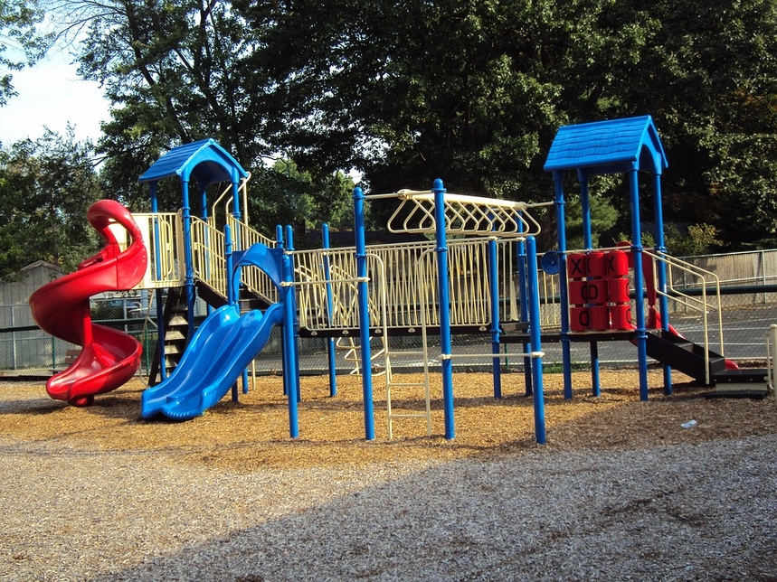 The park features children's play areas.