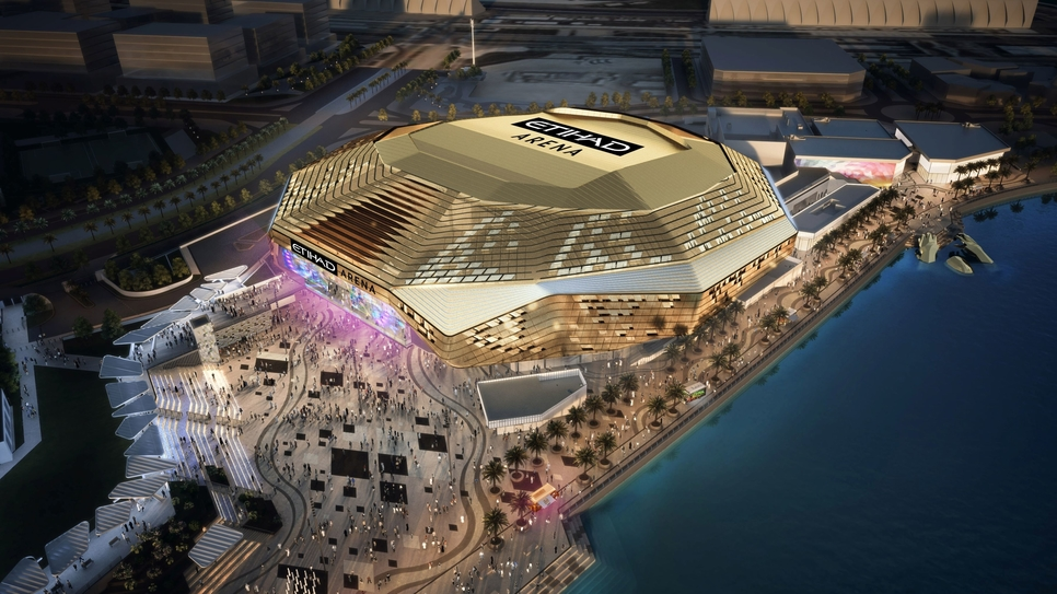 Etihad Arena is located within Yas Bay waterfront development.