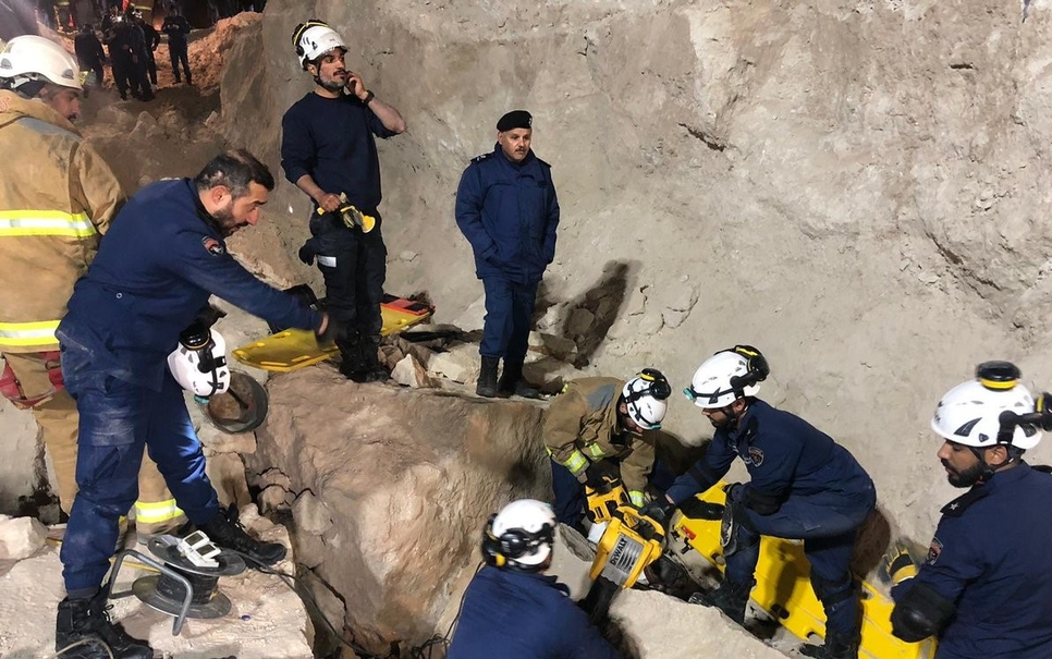 Rescue team from Kuwait Fire Service Directorate (KFSD) at the site.