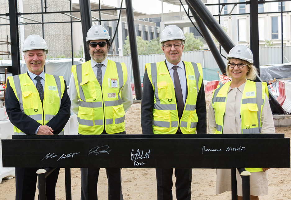 The Finland Pavilion was topped out on 11 February 2020 in a ceremony attended by Finnish government officials and partner companies [image: Supplied]