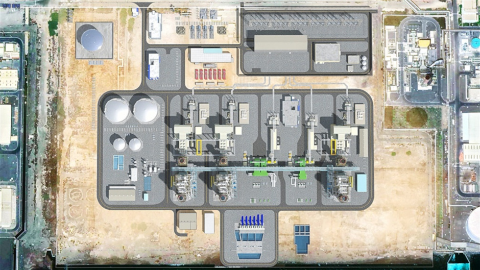 A satellite view computer rendering shows what the Fujairah F3 plant will look like when it is complete.