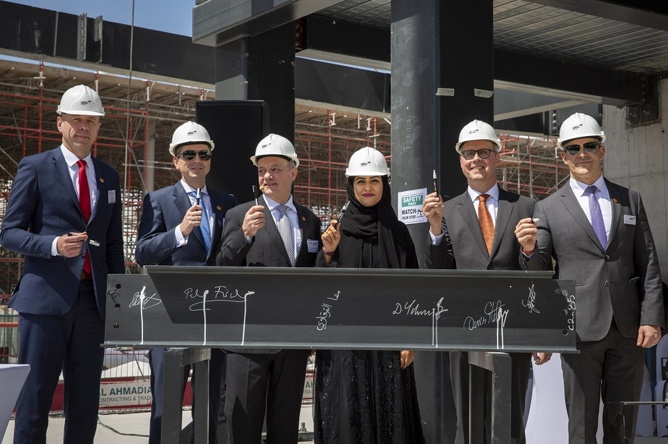 German and Expo 2020 Dubai officials signed the last steel beam of the pavilion.