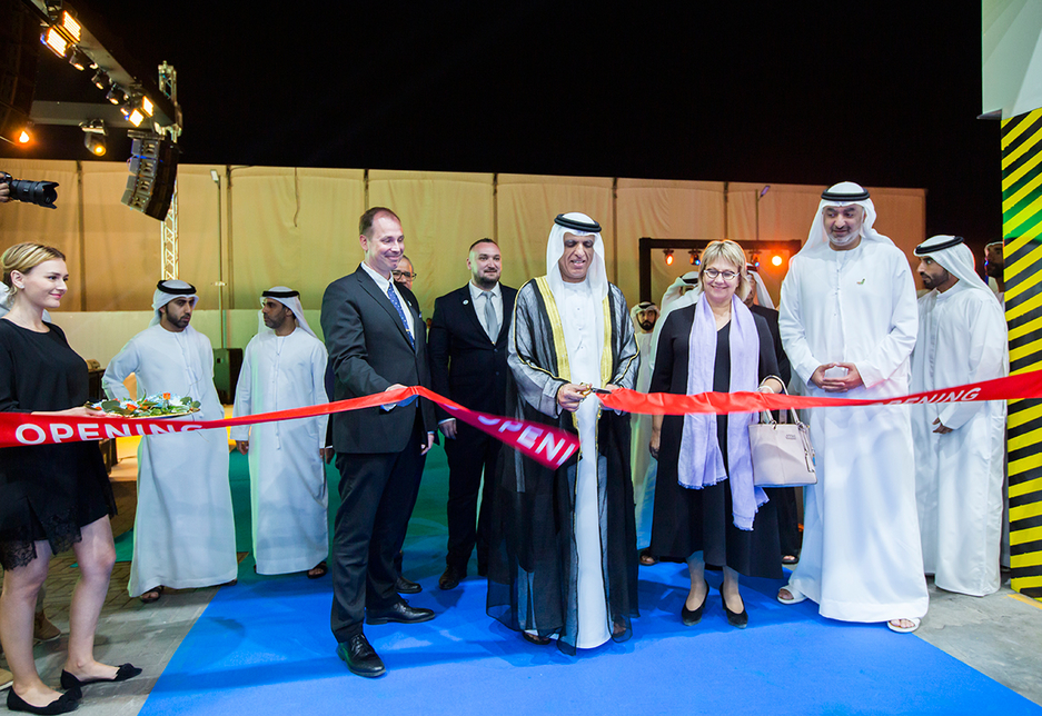 Supreme council member and ruler of Ras Al Khaimah, HH Sheikh Saud bin Saqr Al Qasimi inaugurated the Peikko Gulf production unit.  [Image: ITP Images   Ajith Narendra]