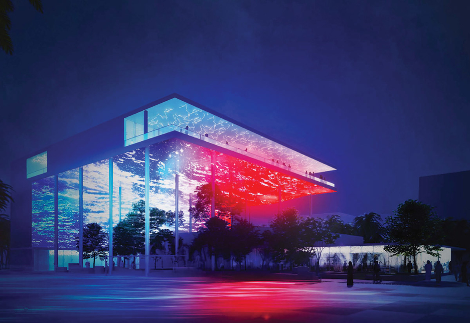 The pavilion hosts a 40m terrace, as well as a canopy hanging at an altitude of 15m, which along with the façade forms an artificial screen and sky. [Image courtesy: Cofrex]