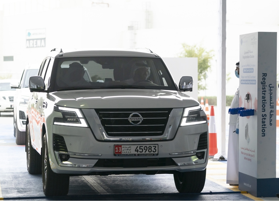HH Sheikh Mohammed bin Zayed opens a drive-through COVID-19 test facility [Photo, video courtesy: Wam]