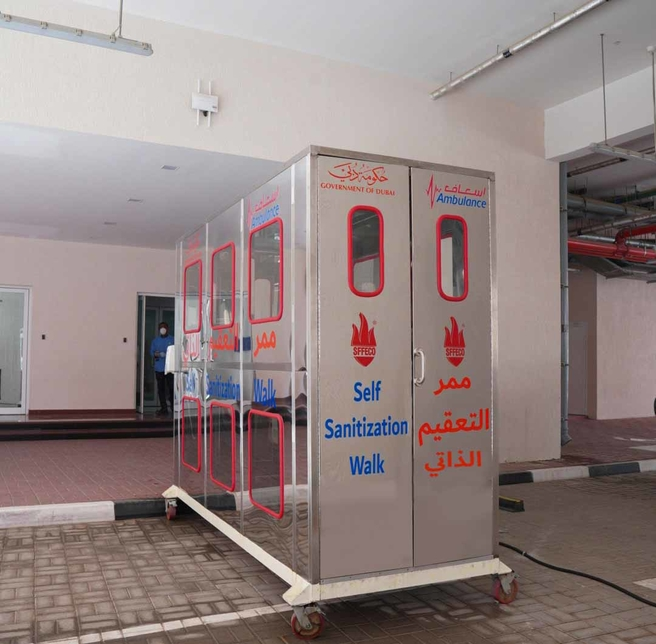 Dubai Ambulance 'Self Sanitisation Walk' to avoid COVID-19 [Photos courtesy: Wam]