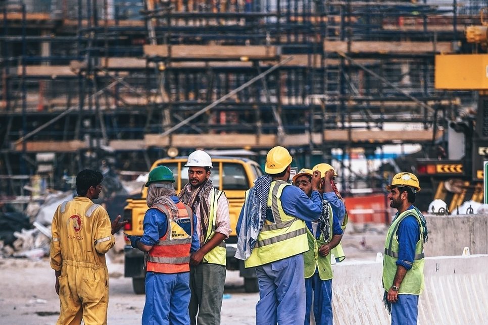 "Workers are considered as the ""main pillar in all infrastructure and urban development projects across the world"" [representational]"