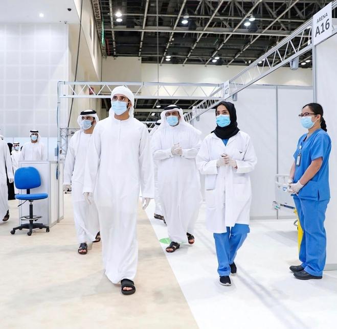 Sheikh Hamdan opens the COVID-19 field hospital at DWTC [All images: Twitter/ Dubai Media Office]