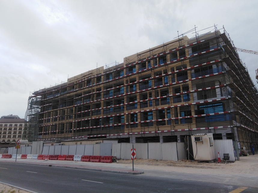 Samana Greens near Dubai's Miracle Garden is currently in the finishing stage