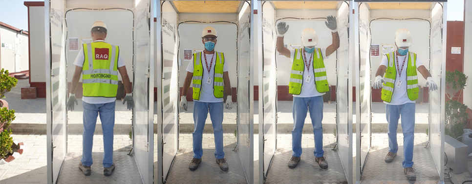 RAQ Contracting installs sanitising booths at head office, sites' offices