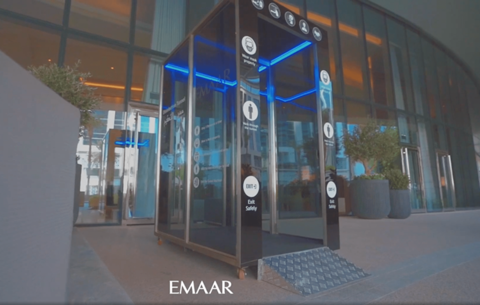 Emaar installs disinfection tunnels at the entrance to its main offices