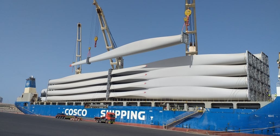 20 wind turbines have arrived at Duba Port in Saudi Arabia