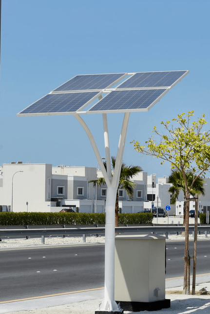 Some solar trees have a capacity of 2kW, and others have 3kW.