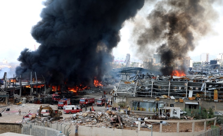 Firefighters douse Beirut port fire caused by welding works