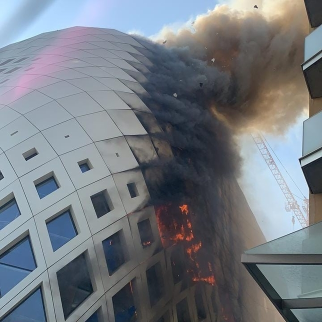 Firefighters douse blaze in Zaha Hadid-designed building in Beirut