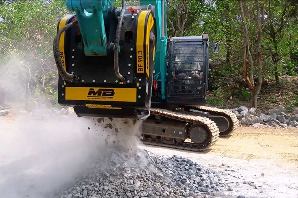 The impact of crushing directly with excavators