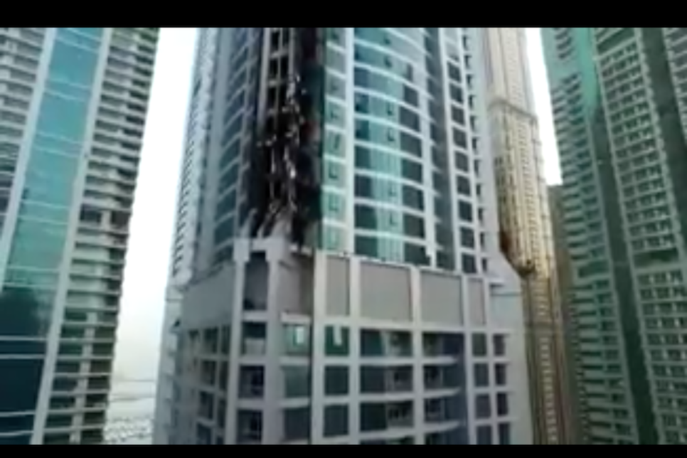 A video depicting the aftermath of a fire at Torch Tower has been released [image: Twitter/Dubai Media Office].