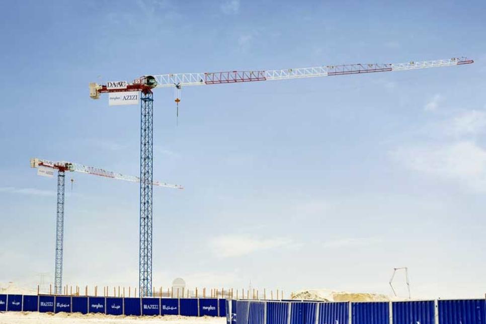 Contractor of Dubai's Azizi Riviera installs two Raimondi cranes