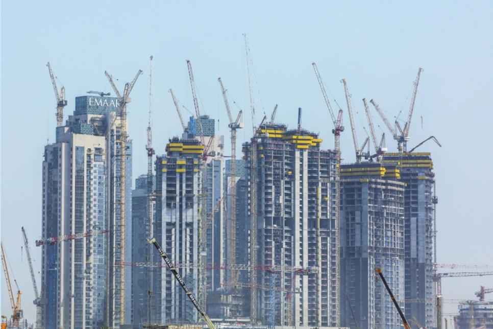 Dubai Creek Harbour construction site uses anti-collision crane tech