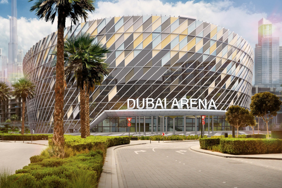 Dubai Arena's roof built with Demag construction cranes