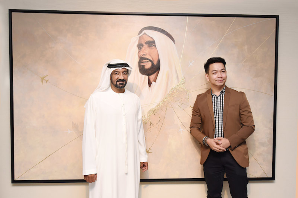 Emirates airline unveils Filipino artist's Year of Zayed piece at Dubai HQ
