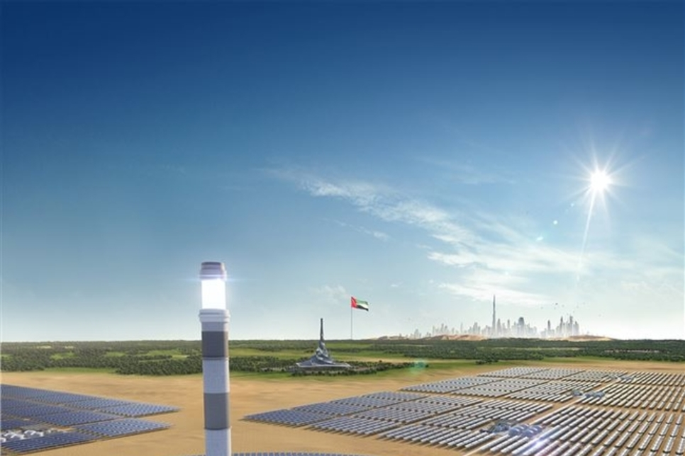 Shanghai Electric, DEWA top out Central Tower at MBR Solar Park