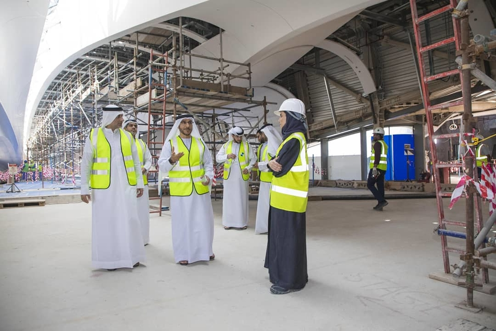 Sharjah Municipality officials review progress on Bee'ah headquarters